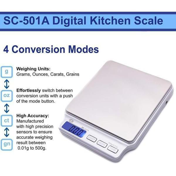 AWS SC Series Precision Digital Food Kitchen Weight Scale, Silver, 500 x 0.01G-SCALES-fourseasons-trade