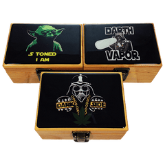 BAMBOO STASH BOX SET MEDIUM WITH GRINDER & JAR - ASSORTED DESIGN-Box With Jar & Grinder-fourseasons-trade