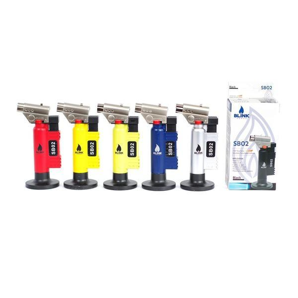 BLINK SB02 SB-02 REFILLABLE BLUE FLAME BUTANE ADJUSTABLE BUTANE LIGHTER TORCH - ASSORTED COLORS-Torches-fourseasons-trade