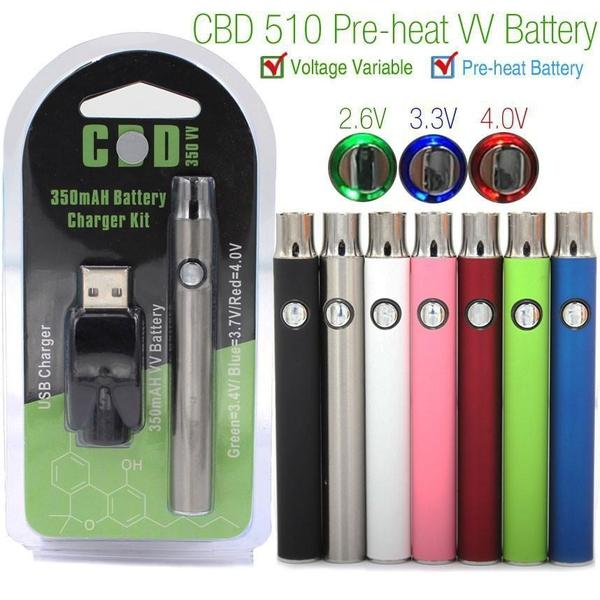 CBD 350MAH Variable Voltage VV BATTERY CHARGER KIT - ASSORTED COLORS-510 Batteries-fourseasons-trade