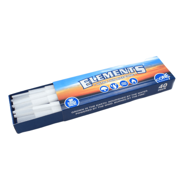 ELEMENTS ULTRA THIN RICE CONES PRE-ROLLED CONE KING SIZE - 40 IN PACK-Tobacco Cones-fourseasons-trade