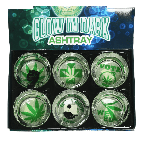 Glow in Dark Ashtray Leaf Design Round Glass- 6 Piece Assorted Design - Price Of Each-Ashtray-fourseasons-trade