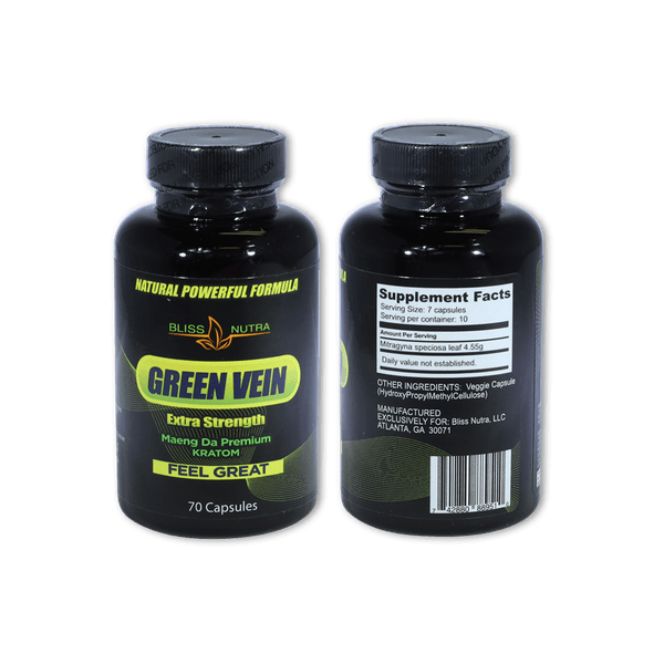 GREEN VEIN EXTRA STRENGTH MAENG DA PREMIUM KRATOM CAPSULES BOTTLE-Kratom Capsules-fourseasons-trade