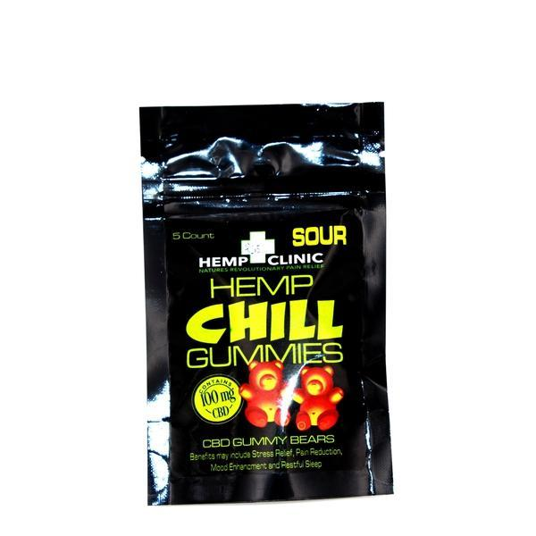 HEMP CLINIC CHILL SOUR CBD GUMMIES 100mg - 5 Count / PACK-CBD Gummies-fourseasons-trade