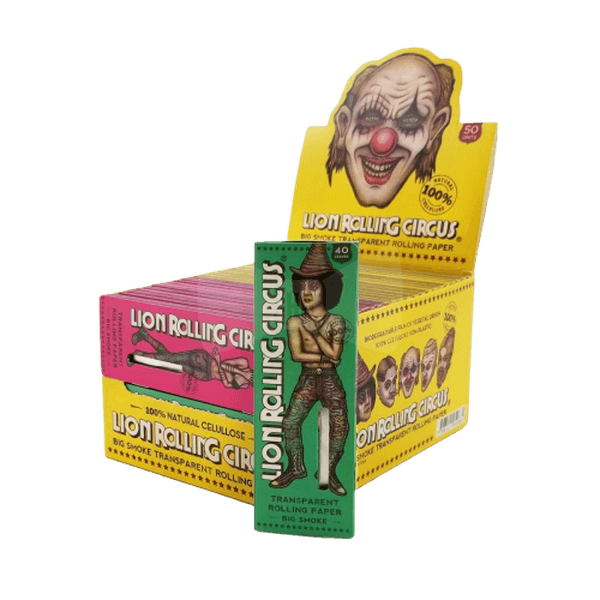 LION ROLLING CIRCUS BIG SMOKE TRANSPARENT ROLLING PAPER CLEAR 110mm - 50 in Box-Tobacco Paper-fourseasons-trade