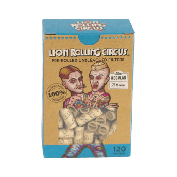 LION ROLLING CIRCUS PRE-ROLLED UNBLEACHED FILTERS 6mm Regular Size - 12 in Box-Tobacco Paper-fourseasons-trade