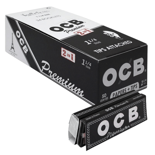 OCB PREMIUM 2 in 1 PAPER WITH TIPS ATTACHED 1 1/4 SIZE - 24 in BOX-Tobacco Paper-fourseasons-trade