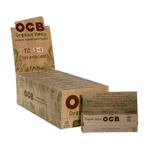 OCB Unbleached Organic Hemp 1 1/4 With Tips 2 in 1 - 24 in Box-Tobacco Paper-fourseasons-trade