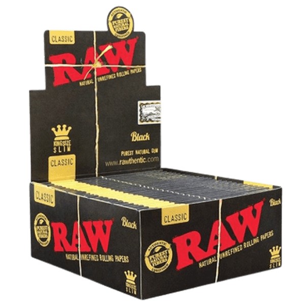 RAW BLACK King Size SLIM CLASSIC ROLLING PAPER 32 Leaves Per Pack - 50 Packs Per Box-Tobacco Paper-fourseasons-trade