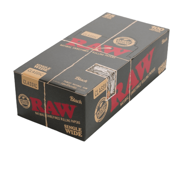 RAW BLACK SINGLE WIDE - 25 PACK IN BOX-Tobacco Paper-fourseasons-trade
