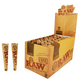 RAW CLASSIC AND ORGANIC HEMP UNREFINED PRE ROLLED CONE KING SIZE - 3 CONES PER PACK - 32 PACKS PER BOX