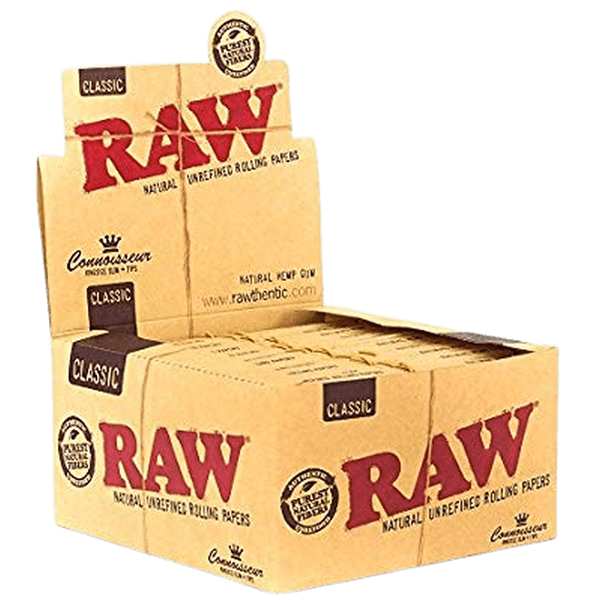 Raw Classic Connoisseur King Size Slim with Tips Rolling Paper - 24 Packs in Box-Tips-fourseasons-trade