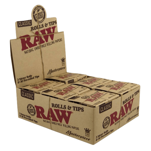 RAW CLASSIC KING SIZE ROLL 3 METER ROLLS And 30 PRE-ROLLED TIPS-Tobacco Paper-fourseasons-trade