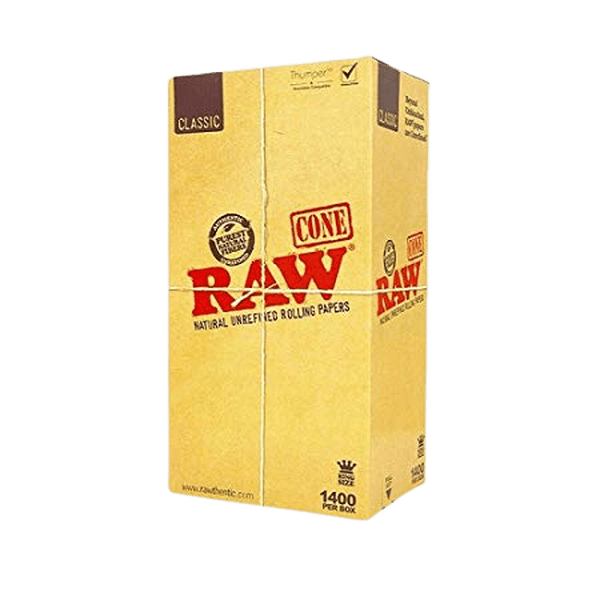 RAW CLASSIC NATURAL UNREFINED ROLLING PAPERS CONE BULK KING SIZE - 1400 PER BOX-Tobacco Cones-fourseasons-trade