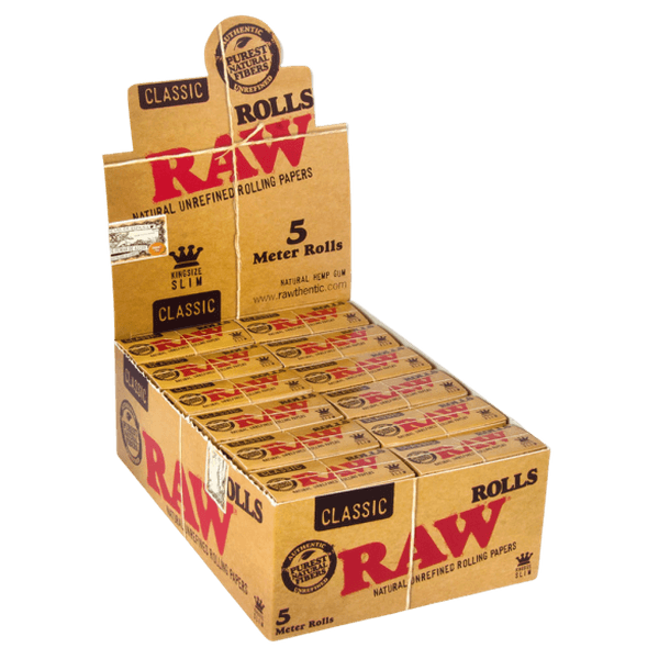 RAW CLASSIC ROLLS CLASSIC KING SIZE SLIM - 5 METER ROLLS - 24 in BOX-Tobacco Paper-fourseasons-trade