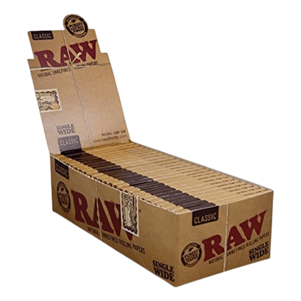 RAW CLASSIC SINGLE WIDE ROLLING PAPERS, 25 BOOKLETS-Tobacco Paper-fourseasons-trade