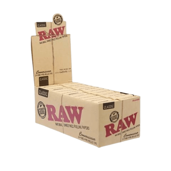 RAW CONNOISSEUR CLASSIC 1 1/4 Rolling Paper With PRE-ROLLED TIPS - 24 in Box-Tips-fourseasons-trade