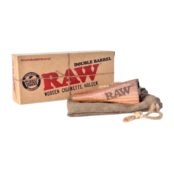 RAW DOUBLE BARREL WOODEN CIGARETTE HOLDER WITH FELT CARRY BAG-SMOKE ACCESSORIES-fourseasons-trade