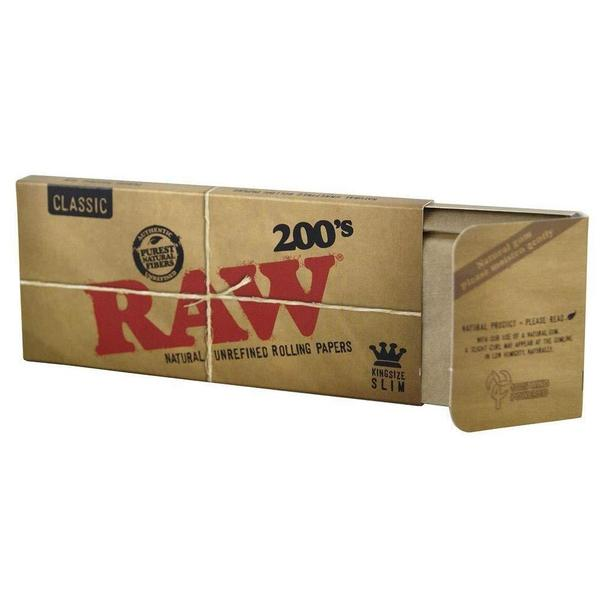RAW NATURAL UNREFINED ROLLING PAPERS BLOCK KING SIZE SLIM 200'S 200 LEAVES PER PACK - 40 IN BOX-Tobacco Paper-fourseasons-trade