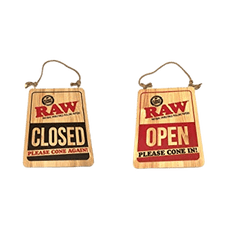 RAW OPEN SIGN WOOD 12 INCH X 16 INCH - OPEN And CLOSED-SMOKE ACCESSORIES-fourseasons-trade