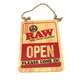 RAW OPEN SIGN WOOD 12 INCH X 16 INCH - OPEN And CLOSED