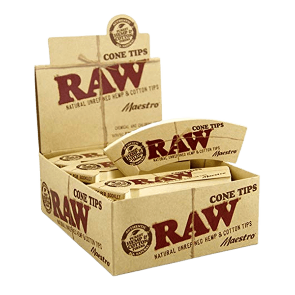 Raw Unrefined Natural Hemp & Cotton Maestro Cone Tips Packs Of 32 - Full Box Of 24-Tips-fourseasons-trade