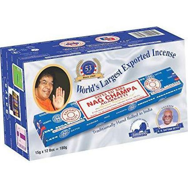 Satya Sai Baba Nag Champa Agarbatti Pack of 12 Incense Sticks Boxes 15gms Each Fine Quality Incense Sticks-INCENSE-fourseasons-trade