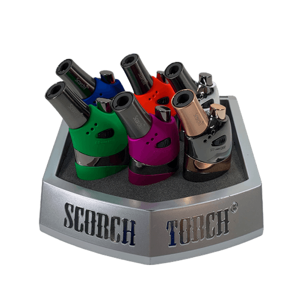 SCORCH TORCH 4.9 INCH TORCH LIGHTER - ASSORTED COLORS - DISPLAY OF 6-Torches-fourseasons-trade