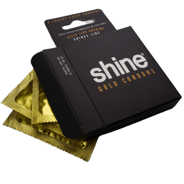 Shine 24k Gold Condoms 3 - Pack-SMOKE ACCESSORIES-fourseasons-trade