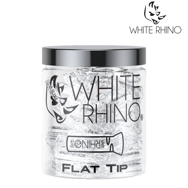WHITE RHINO FLAT/ROUND GLASS TIPS- PACK OF 100