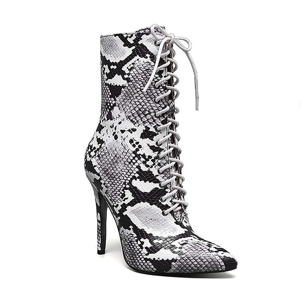 High Heel Serpentine Boots