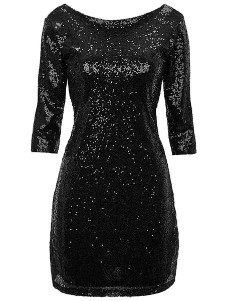 Regna X Women Sexy Deep V Sequin Glitter Bodycon Dress