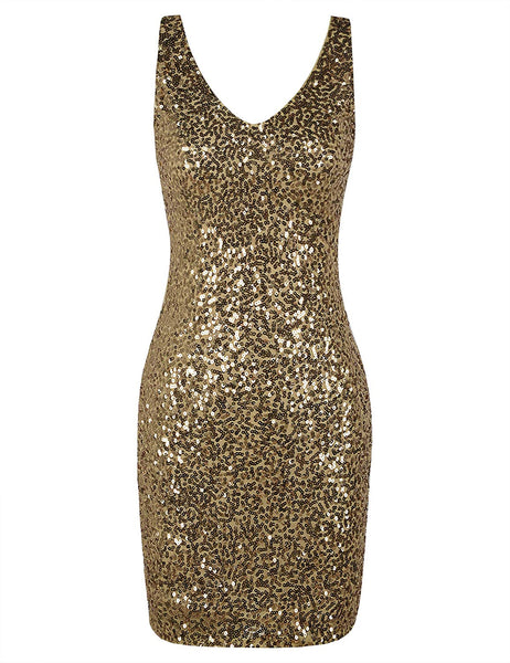 PrettyGuide Women's Sequin Cocktail Dress V Neck Bodycon Glitter Party Dress