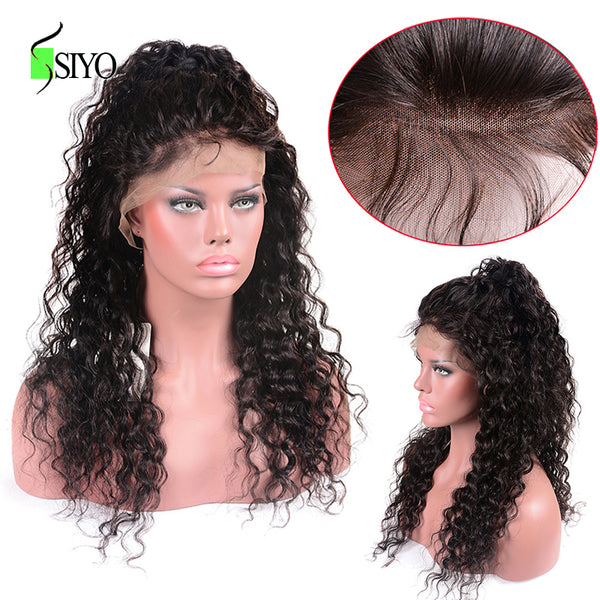 SIYO Hair Lace Frontal Wig Pre Plucked With Baby Hair 150% Density Peruvian Water Wave 13x4 Lace Front Remy Human Hair Wigs