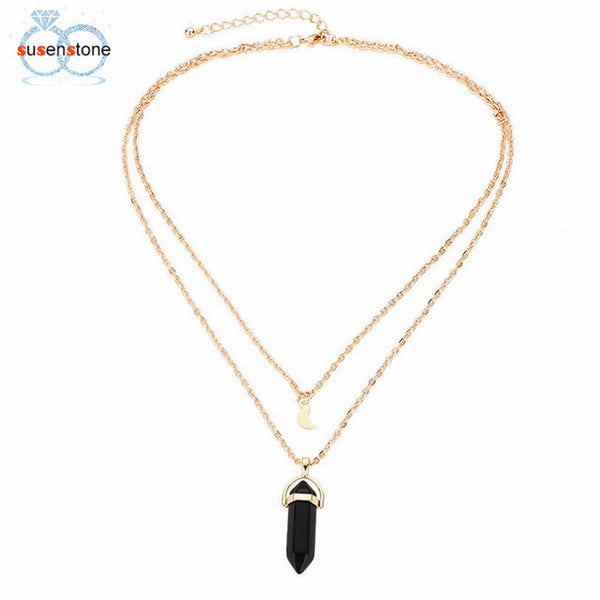 Multilayer Irregular Crystal Opals Pendant Necklace