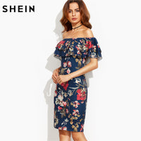Sleeve Multicolor Floral Print Dress