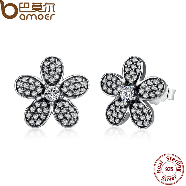 Sterling Silver Dazzling Daisy Flower Stud Earrings
