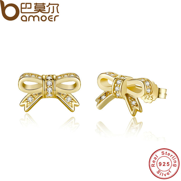 Authentic Sparkling 925 Sterling Silver Bow Stud Earrings