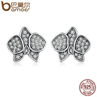 Sterling Silver Radiant Butterfly Orchid Clear CZ Stud Earrings