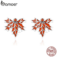 Sterling Silver Autumn Maple Tree Leaves Stud Earring