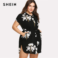SHEIN Dolphin Hem Belted Shirt Dress