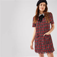 SHEIN Multicolor Preppy Tie Neck Frayed Edge Tweed Plaid Puff Sleeve Highstreet Dress