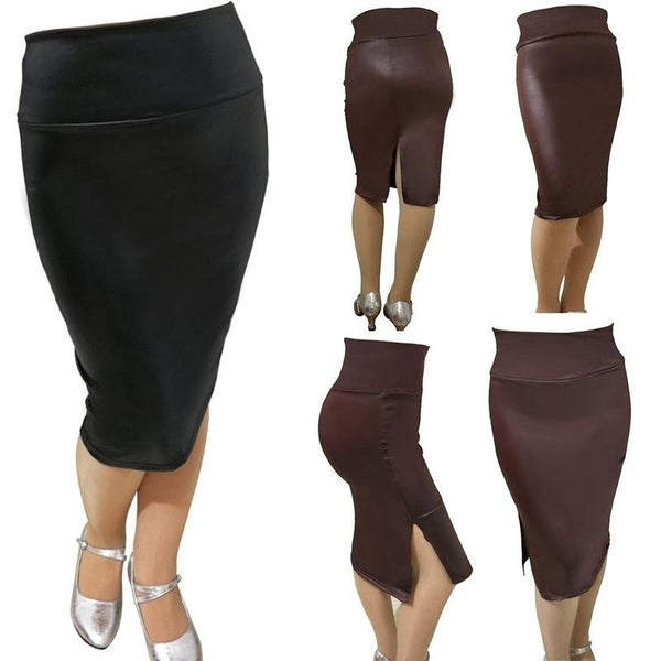 Women Faux Leather Pencil Skirt High Waist Sexy Below Knee  Side Split Dress