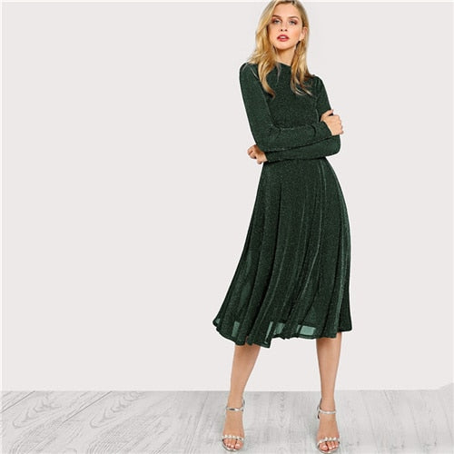 SHEIN Green Elegant Party Mock Dress