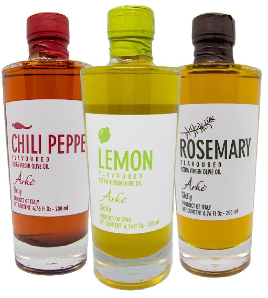 Lemon, Hot Pepper, Rosemary infused Extra Virgin Olive Oil from Sicily/Italy - Bundle