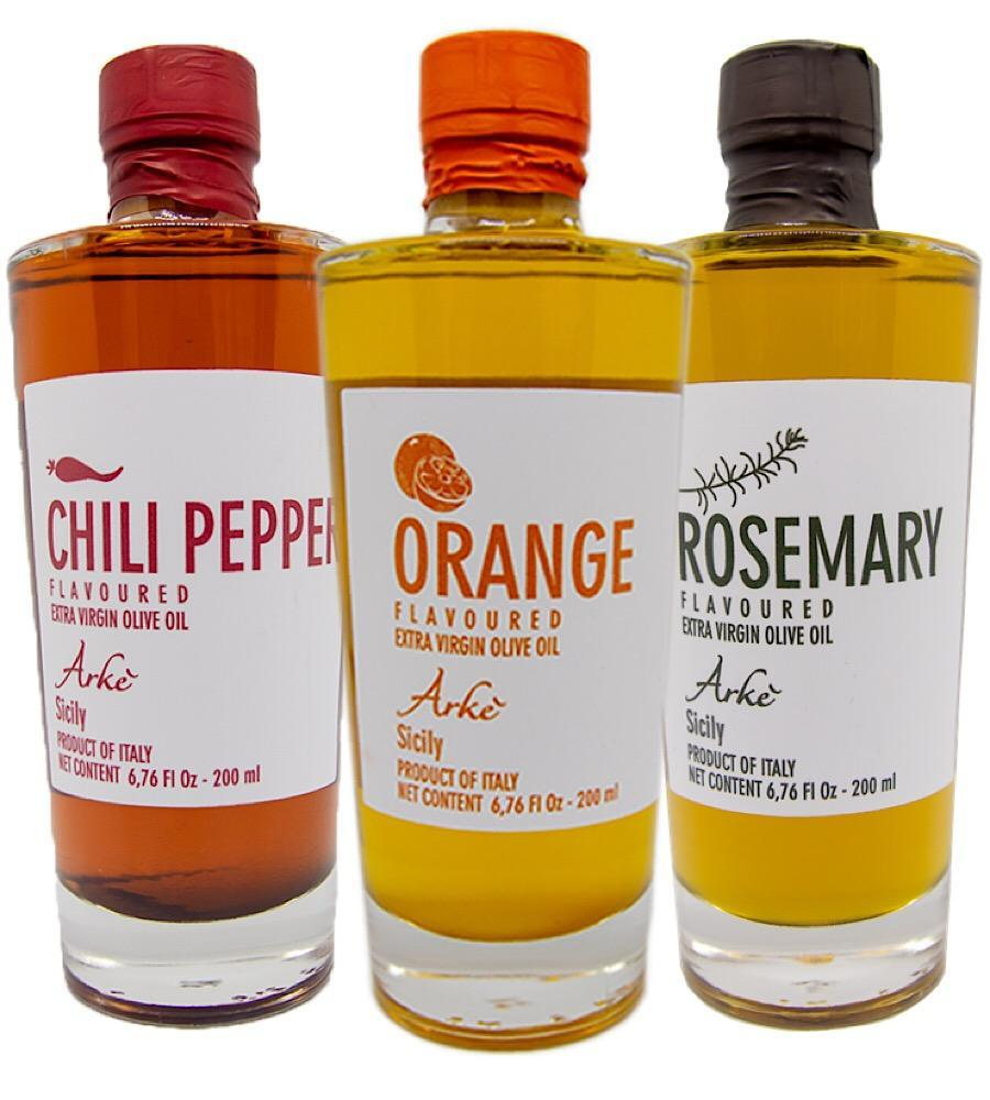 Orange, Hot Pepper, Rosemary infused Extra Virgin Olive Oil from Sicily/Italy - Bundle