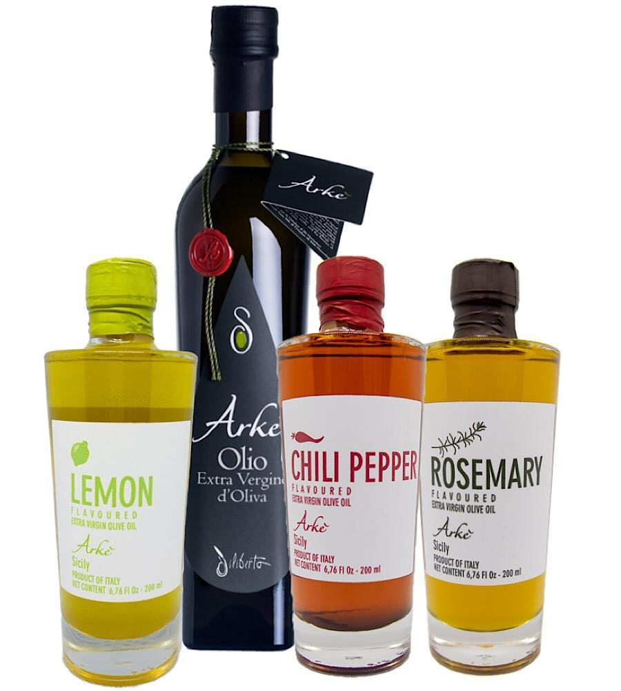 Olio Arkè - Extra Virgin Olive Oil and Lemon, Hot Pepper, Rosemary infused EVOO from Sicily/Italy - Bundle - medEATerraneo