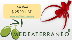 medEATerraneo gift cards. surprise with a gift card present to shop with medEATerraneo.com for Extra Virgin Olive Oil, Balsamic Vinegar, Pasta from Italy