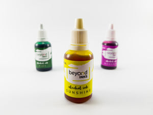 Alcohol Inks, Made in India by BeyondInks Sunshine Magenta Pine Pack5