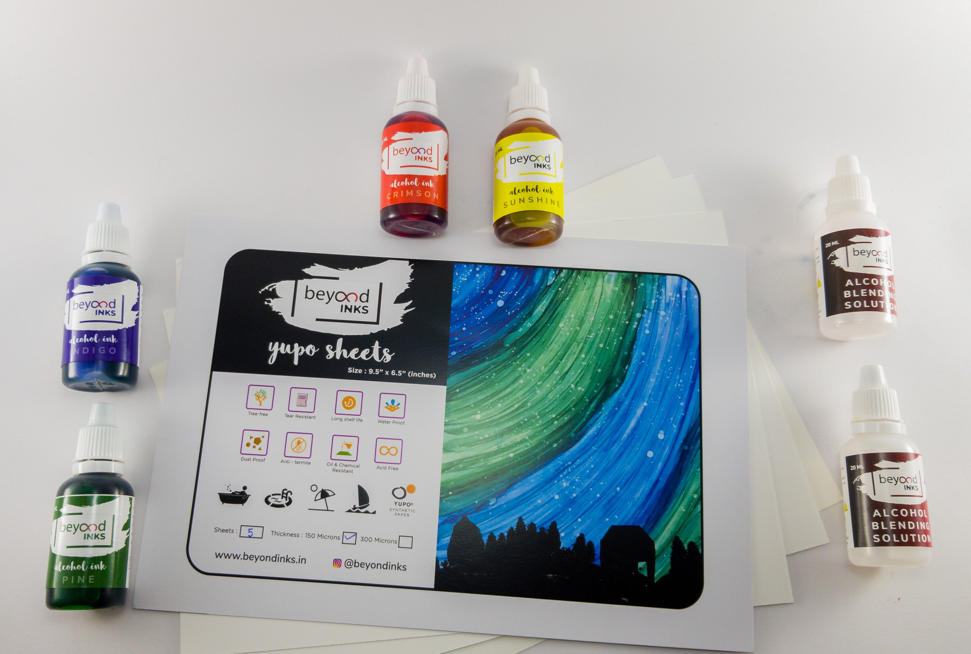 Alcohol ink Beyond Inks Starter Kit with yupo
